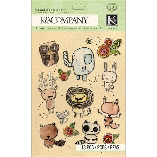 K and Company - Grand Adhesions with Glitter Accents - Woodland Animals