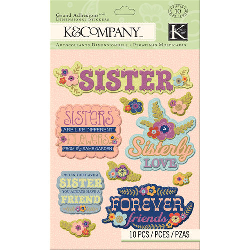 K and Company - Grand Adhesions with Gem and Glitter Accents - Sister
