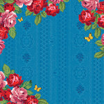 K and Company - Bloomscape Collection - 12 x 12 Paper with Varnish Accents - Rose Border