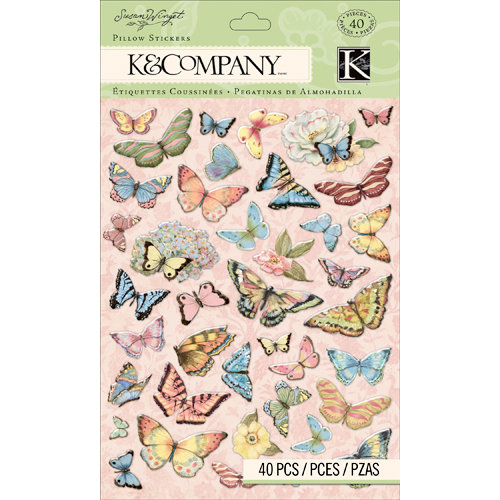 K and Company - Floral Collection - Pillow Stickers - Butterfly