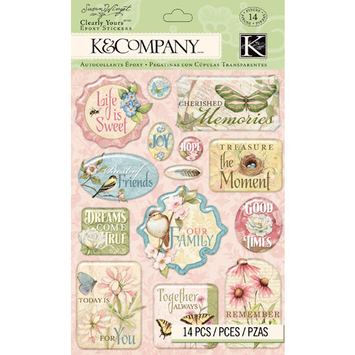 K and Company - Floral Collection - Clearly Yours - Epoxy Stickers - Words