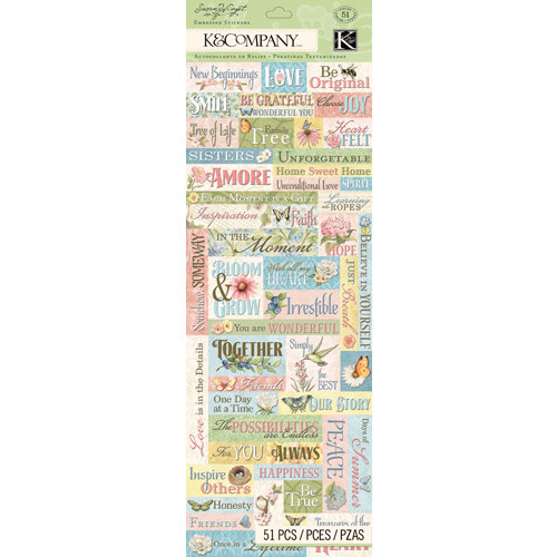 K and Company - Floral Collection - Embossed Stickers - Words
