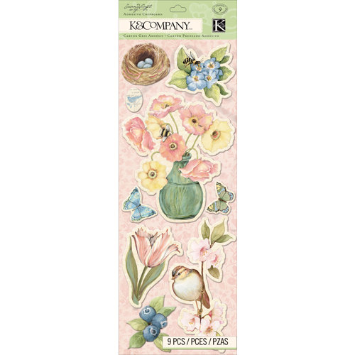 K and Company - Floral Collection - Adhesive Chipboard - Icons