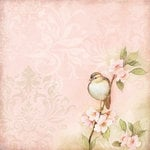 K and Company - Floral Collection - 12 x 12 Paper with Foil Accents - Bird on Pink