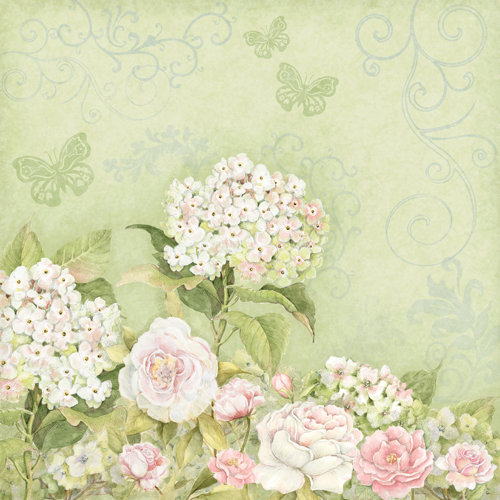 K And Company Floral Collection 12 X 12 Paper Roses Hydrangea