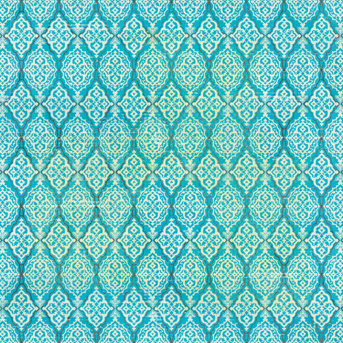 K and Company - Blossom Collection - 12 x 12 Textured Paper - Turquoise Medallion
