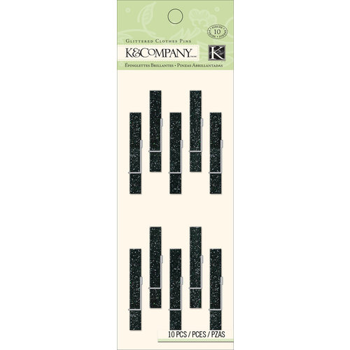 K and Company - Glittered Clothes Pins - Black
