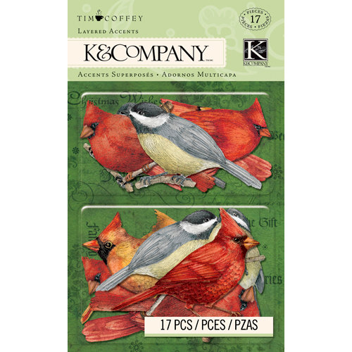 K and Company - Christmas 2012 Collection by Tim Coffey - Layered Accents with Glitter Accents - Bird