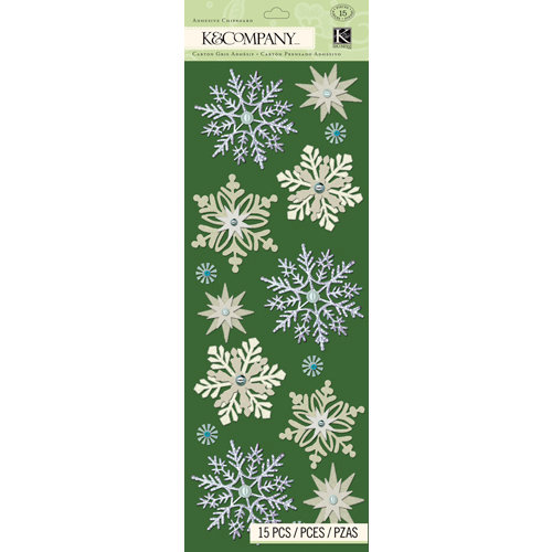 K and Company - Christmas 2012 Collection by Tim Coffey - Adhesive Chipboard with Gem and Glitter Accents - Snowflake