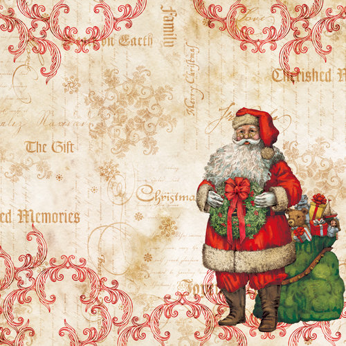 K and Company - Christmas 2012 Collection by Tim Coffey - 12 x 12 Paper with Foil Accents - Santa