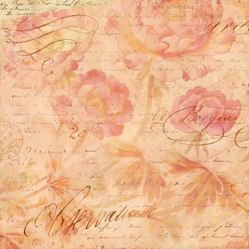 K and Company - Brenda Walton Collection - 12 x 12 Thermography Paper with Glitter Accents - Scribe - Roses