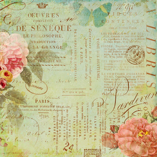 K and Company - Brenda Walton Collection - 12 x 12 Paper with Shimmer Accents - Scribe - Text