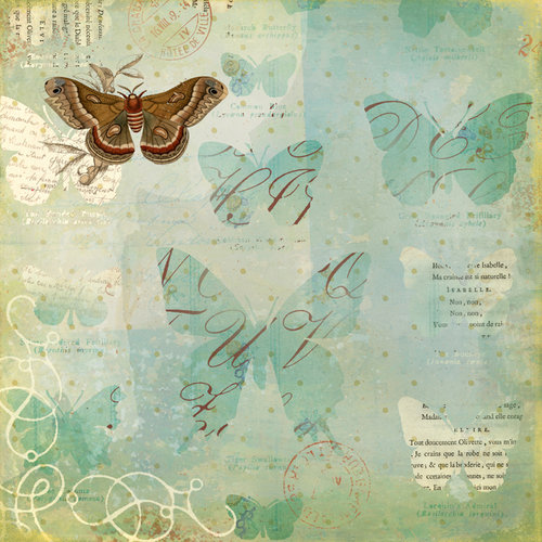 K and Company - Brenda Walton Collection - 12 x 12 Paper - Scribe - Butterfly
