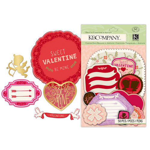 K and Company - Cupid Collection - Die Cut Cardstock and Acetate Pieces