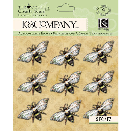 K and Company - Foliage Collection by Tim Coffey - Clearly Yours - Epoxy Stickers - Bees