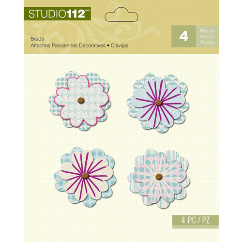 K and Company - Studio 112 Collection - Shaped Brads - Blue Flower
