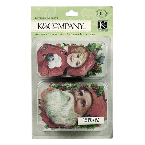 K and Company - Christmas Cheer Collection - Layered Accents with Glitter Accents - Holly