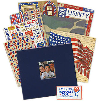 K and Company - 12x12 Album - Connect and Join Patriotic Scrapbook Album - Navy Blue