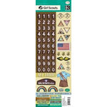 K and Company - Brownie Girl Scouts Collection - Embossed Stickers - Numbers, Badges and Words