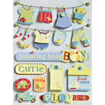 K and Company - Grand Adhesions - Brenda Walton Collection - Small Wonders - Boy Clothesline, CLEARANCE