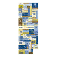 K and Company - Blue Awning Collection - Embossed Stickers - Botanical and Decorative Words, CLEARANCE