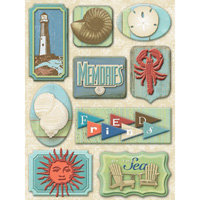 K and Company - Sea Glass Collection - Grand Adhesions 3 Dimensional Stickers - Seashore
