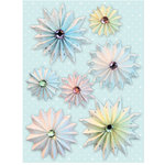K and Company - Pleated Grand Adhesions Stickers - Swell Noel Collection - Snowflakes with Glitter and Gems
