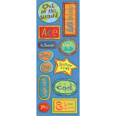 K and Company - Rough and Tumble Collection - 3-Dimensional Adhesive Chipboard - Rough and Tumble Words, CLEARANCE