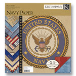 K and Company - Military Collection - 12x12 Patterned Cardstock Double Sided Paper Pad - Navy