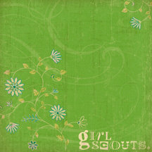 K and Company - 12x12 Paper - Girl Scouts Collection - Green Swirl Floral