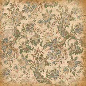 K and Company - Ancestry.com Collection - 12x12 Paper - Teal Floral and Newsprint
