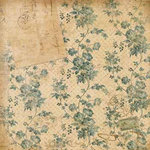 K and Company - Ancestry.com Collection - 12x12 Paper - Teal Floral and Letter