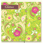 K and Company - Berry Sweet Collection -12x12 Patterned Glitter Paper - Green Floral, CLEARANCE