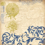 K and Company - Blue Awning Collection - 12x12 Paper - Zinnia Swirl
