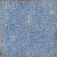 K and Company - Blue Awning Collection - 12x12 Paper - Blue Damask