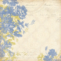 K and Company - Blue Awning Collection - 12x12 Foil Paper - Floral Woodcut