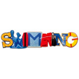 Karen Foster Design - Water Fun Collection - Stacked Statements - 3 Dimensional Adhesive Title - Swimming