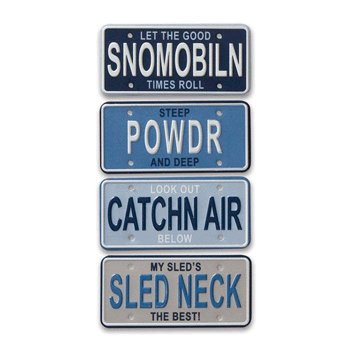 Karen Foster Design - Fun in the Snow Collection - License Plates - Snowmobiling