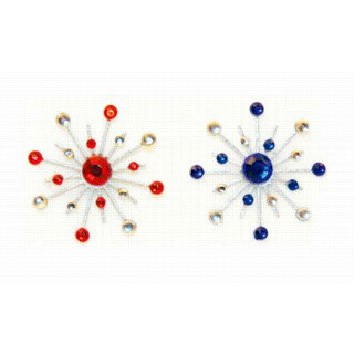 Karen Foster Design - Sparkle Burst Brads - Blue and Red