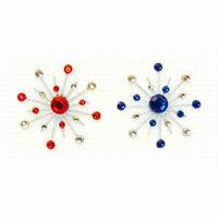 Karen Foster Design - Sparkle Burst Brads - Blue and Red