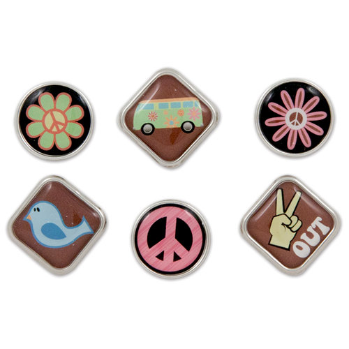 Karen Foster Design - Peace Collection - Bubble Brads - Far Out