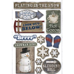Karen Foster Design - Fun in the Snow Collection - Sticker - Playing in the Snow