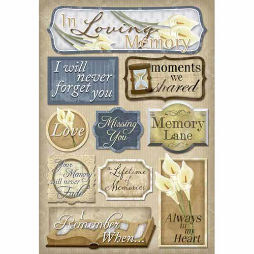 Karen Foster Design - In Memory Collection - Cardstock Stickers - In Loving Memory