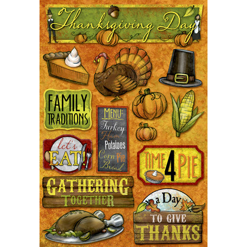 Karen Foster Design - Thanksgiving Collection - Cardstock Stickers - Time 4 Pie
