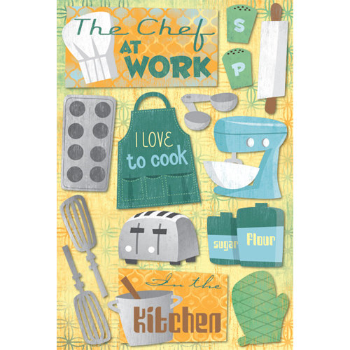 Karen Foster Design - In the Kitchen Collection - Cardstock Stickers - The Chef at Work
