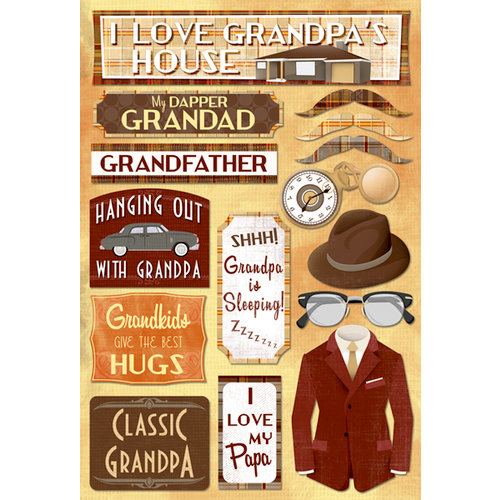 Karen Foster Design - Grandpa Collection - Cardstock Stickers - Classic Grandpa