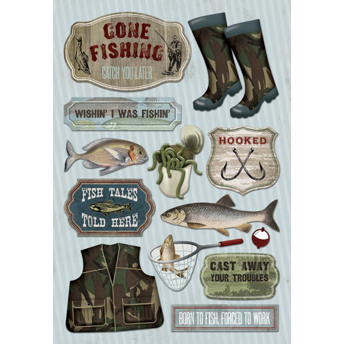Karen Foster Design - Fishing Collection - Cardstock Stickers - Wishin I Was Fishin