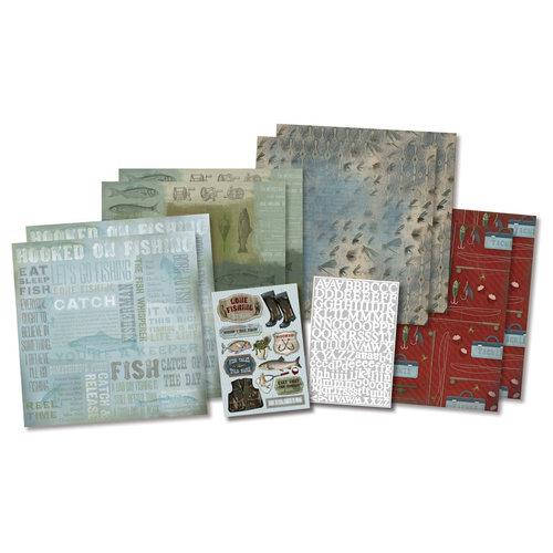 Karen Foster Design - Fishing Collection - Scrapbook Kit - Born To Fish