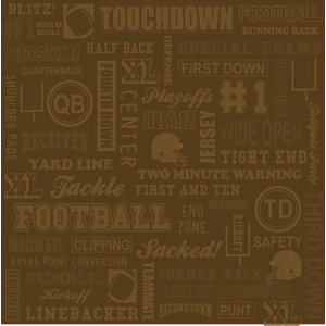 Karen Foster Design - Touchdown Collection - Patterned Paper - Brown Football Collage