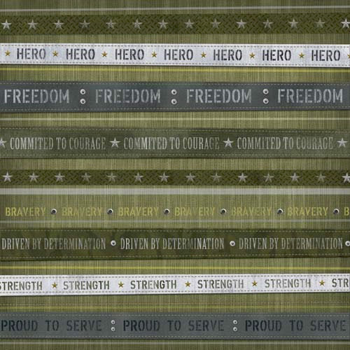 Karen Foster Design - Military Collection - 12 x 12 Paper - Hero Stripes